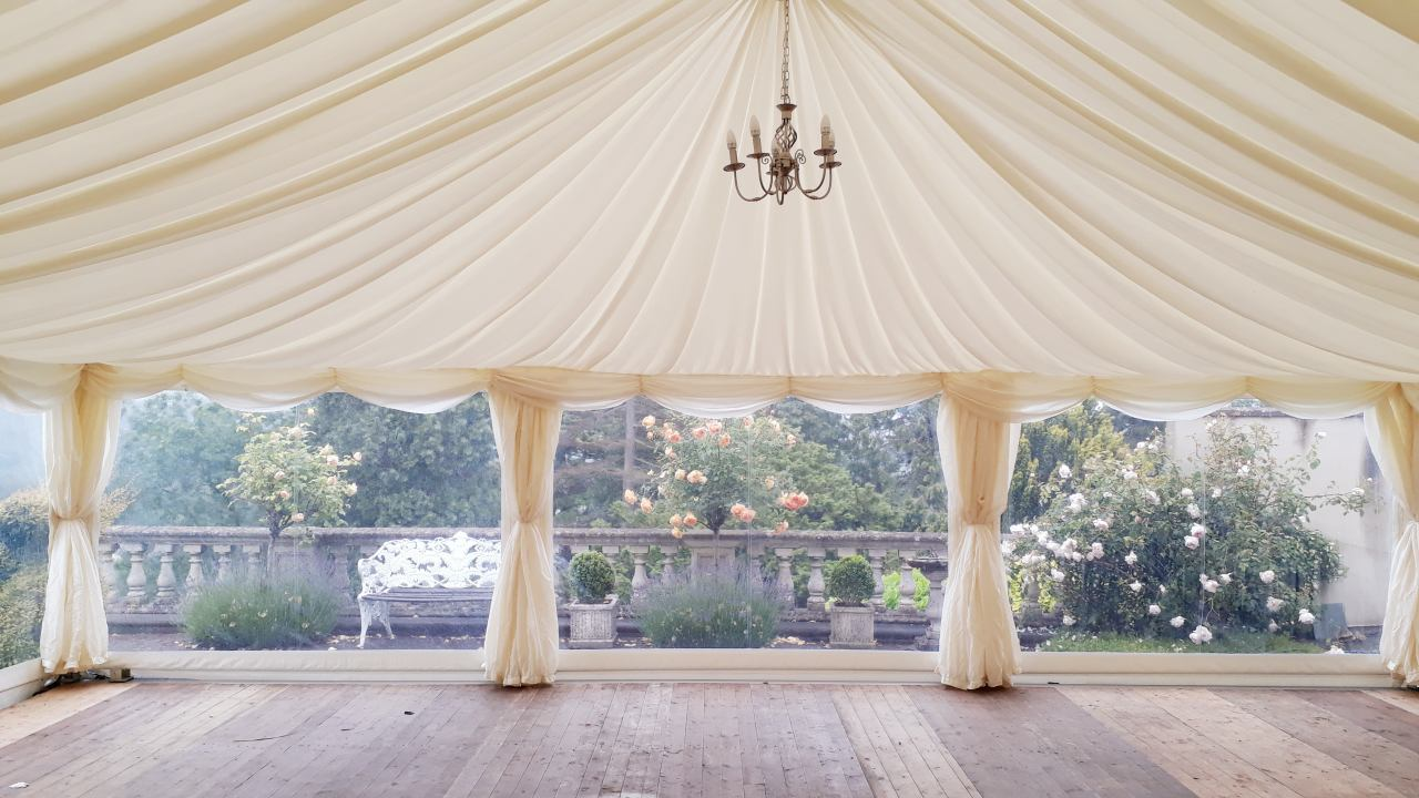 wooden floor in marquee
